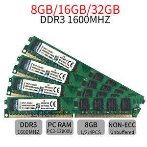 32GB 16GB 8GB 4GB DDR3 1600MHz 1333MHz PC3 DIMM KVR Memory SDRAM Kingston LOT BT
