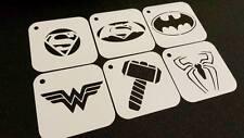 SUPERHERO Set of 6pcs Stencils BATMAN SUPERMAN SPIDERMAN WONDER WOMAN THOR