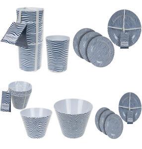 Summit Melamine Dinner Set Plastic Beakers Camping Picnic Cup Plates Salad Bowl