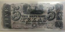 1839 Republic of Texas $5 five dollar note cut cancel