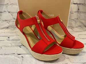 NEW Womens Michael Kors Janet Wedge Sandals Small Weave Canvas Red All Sizes