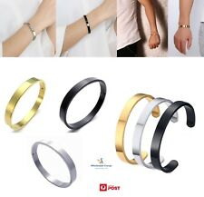 STAINLESS STEEL BANGLE MENS WOMENS FASHION CUFF BRACELET BLACK SILVER GOLD ROSE