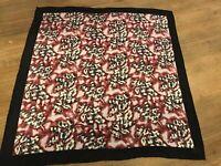 """Vintage 20"""" 100% Silk Scarf - Lavender, Multi color Leaves Design"""