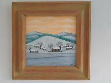 """Gabriel Donnet  """"Le hameau sous la neige"""" - Art naïf- Tableau original -"""