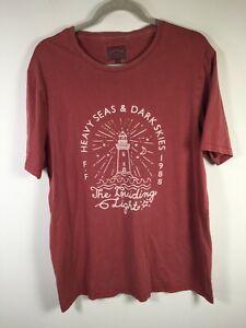 Fat face UK mens burgundy graphic print t shirt size XL short sleeve cotton