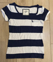 Abercrombie & Fitch Women's T Shirt Blue White Small V Neck Cotton Blend S/S