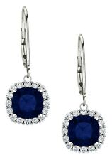 Sterling Silver 2.40 tcw. 6mm Created Sapphire Leverback Halo Earrings