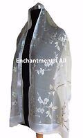 New Stunning Handmade 100% Pure Silk Scarf Shawl Wrap w/ FLORAL Pattern, Lemon