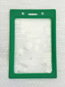 """1 Vertical ID Badge Holder, Clear Vinyl Window with a Color """"Frame"""" Border"""
