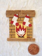 2 Fireplace Stockings chimney St Nick Christmas embellishment scrapbook gift bag