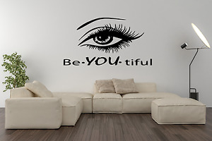 Be You Beautiful Quote With Eye Wall Decal Art Sticker W38