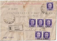 ITALIA 1944  LUOGOTENENZA  50C P.M X6 SU RACCOMANDATA DA LICATA X DISTRETTO.