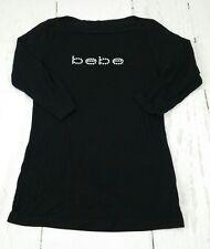 *PreOwned* BEBE Women's Size M Black Rhinestone Logo 3/4 Tee T Shirt Top