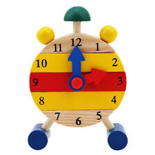 Wooden Clock Jigsaw Block Puzzle Kids Montessori Time Educational Toys 6A