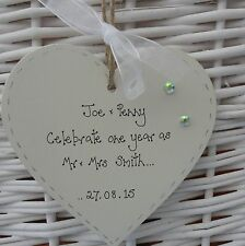First 1st  any Wedding Anniversary personalised  heart  gift 10cm