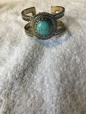 Lucky Brand Turquoise Stone Open Cuff Bracelet Pave Accents Antique Silvertone