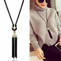 Women Fashion Exquisite Black Chain Tassel Long Chain Sweater Necklace Jewelry