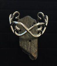 Solid Sterling Silver Heart to Heart Cuff Bracelet