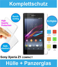 Sony Xperia Z1 Compact Handy Hülle + Panzerglas 9H Clear Silikon Bumper Case