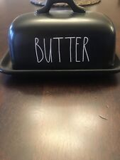 Rae Dunn Butter Dish Black with White Letters Artisan Collection By Magenta