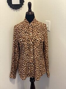 LUCKY BRAND ANIMAL PRINT BLOUSE 100% SILK CHEETAH LEOPARD WESTERN M