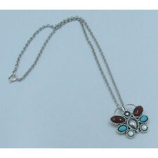 .925 Sterling Silver Natural Turquoise Carnelian Pearl Butterfly Necklace