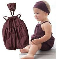 Toddler Kids Baby Girls Romper Jumpsuit+Headband Clothes Outfit 2PCS/1Set 0-3Y