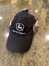 John Deere Black W/ Camo Mesh Trucker Adjustable Hat/Cap