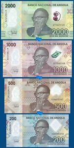 SET Angola 2000 + 1000 + 500 + 200 kwanzas 2020 Polymer UNC