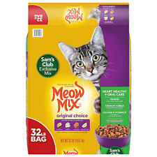 Dry Cat Food 32 lbs, Meow Mix Original Choice, Heart Health & Oral Care Formula.