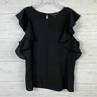 Banana Republic Women's Blouse Size M Ruffle Short Sleeves Black Solid Career