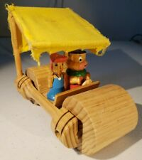 Unusual Hanna Barbera FLINTSTONES  Wilma and Fred In Car. Wooden And Cloth.