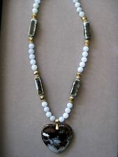 Lovely Blue and Brown Fire Agate Pendant Necklace with matching Agate beads
