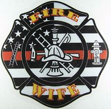 Reflective firefighter sticker Maltese Fire Wife American Flag