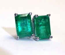 Stunning 1.20CT Deep Blue Green Colombian Emerald 14K White Gold Stud Earrings