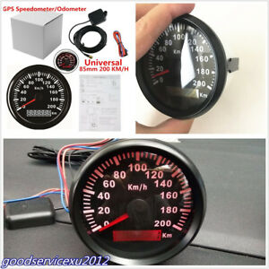 Vehicles 85mm Red Backlight Stainless GPS Digital Speedometer Odometer 200 km/h