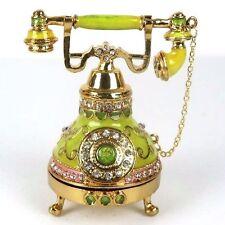 "Telephone Trinket Box in Green w/ Gold Tone Metallic & Rhinestones 4.5""H New"
