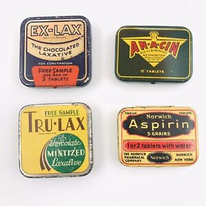 Vintage Lot of 4 Medicine Tin Empty Laxative Aspirin Advertising Sample