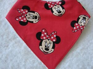 Minnie Mouse Red Bandana Dribble Bibs Cotton Front Towelling Back Handmade