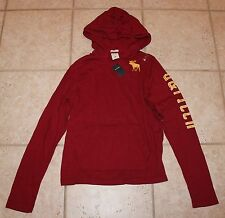 NWT Abercrombie Boys XL Hooded Muscle Fit Long Sleeve Pullover Maroon Shirt