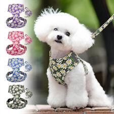 Floral Reflective Cat Dog Harness and Leash Set Adjustable Padded Puppy Pet Vest