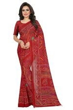 Indian Women's Soft Poly Georgette Rajasthani Print Saree With Blouse Piece_Red