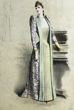 Mode Femme Piano Fashion Robe Paris Elegant Gourbaud Lithographie 19e