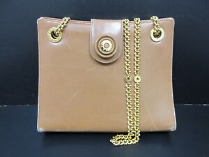 Authentic Tiffany & Co. Chain Shoulder Bag Leather Brown 92910