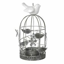Small Metal Bircage Tea Light Candle Holder With Ceramic Bird
