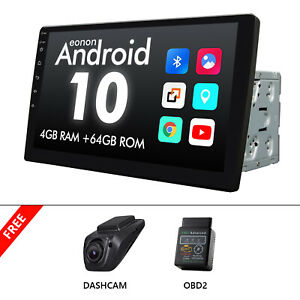 """OBD+DVR+10.1"""" Car Stereo Touch Screen Radio Android 10 4+64GB GPS Mirror Link BT"""
