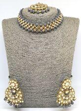 Uk Bollywood Indian Gold/Grey Choker Necklace Set Earrings+tikka kundan jewelry