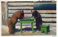 Learning Table Manners Cute Bears at Table Munching Away Linen Vintage Postcard