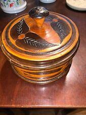 "Round Wood Hand Carved Decorative 6"" Jewelry Box"