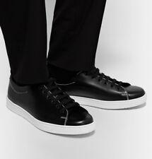 PRADA Men's Black Contrast-Stitched Spazzolato Leather Sneakers UK 8 US 9